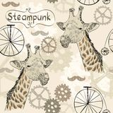 Steampunk. Drawn illustration of an  giraffe in style steampunk Stock Photos
