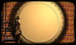 Steampunk Dziewczyna bada parowego silnika Zdjęcia Stock
