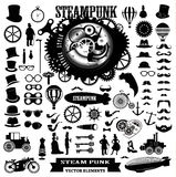 Steampunk elements. Vector labels and icons. Royalty Free Stock Photo