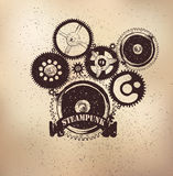 Steampunk emblem dears Stock Photo