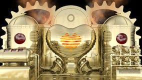 Steampunk estilizó la máquina: la sangre entra en los tanques del depósito y después quema en el horno en forma de corazón del am stock de ilustración