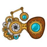 Steampunk exponeringsglascollage av metallkugghjul i klotter Arkivbilder