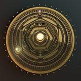 Steampunk för astrolabium för modell för solsystem för illustrationfantasidieselpunk bakgrund Kvalitet 3D framför Arkivfoto