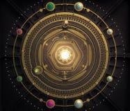 Steampunk för astrolabium för modell för solsystem för illustrationfantasidieselpunk bakgrund Kvalitet 3D framför Arkivbilder