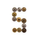 Steampunk förser med kuggar den mekaniska designsiffran nummer 5 för kugghjul Texturerade rostig sjaskig metall för tappning indu Arkivfoto