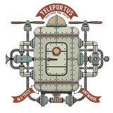 Steampunk  fantastic machine for teleportation. Apparatus interweaving with pipes, cables devices. Shadow, outline, color on separate layers Stock Images