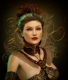Steampunk Fashion Lady 3d CG royalty free illustration