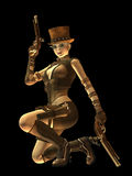 Steampunk female gunslinger Stock Images