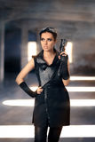 Steampunk Female Warrior With Gun In Post Apocalyptic Ruins Royalty Free Stock Images