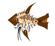 Steampunk fish. Retro brown steampunk fish consisting of gears Royalty Free Stock Photos