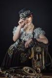 SteamPunk flicka royaltyfria bilder