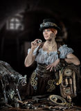 SteamPunk flicka royaltyfri foto