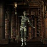 Steampunk flicka med lyktan Fotografering för Bildbyråer