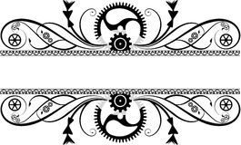 Steampunk Flourish. With gears and cogs royalty free illustration