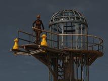 Steampunk-Flughafensicherheit Stockfotografie
