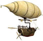 Steampunk flying ship with a lantern Royalty Free Stock Photo