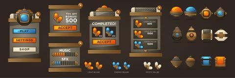 Steampunk Folował wartość dla twój Mobilnej gry, retro futurystyczny mech Obrazy Stock