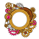 Steampunk frame collage of metal gears in doodle Stock Photo
