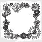 Steampunk frame collage of metal gears in doodle Royalty Free Stock Photo