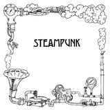 Steampunk frame with industrial machines gears chains, gramophone and technical elements, vector Stock Image