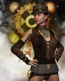 Steampunk-Frau vor einem Getriebe Stockfoto