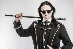 Steampunk Gentelmen Costume Drama Character. Shot in studio on white background Royalty Free Stock Images