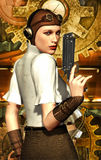 Steampunk girl. With pistol in 3d Stock Photos