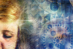 Steampunk girl. Girl on an abstract steampunk background Stock Images
