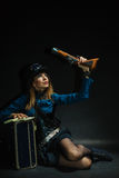 Steampunk girl armed and dangerous. Stock Images