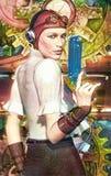 Steampunk girl captain. 3D render science fiction illustration Stock Photos