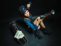 Steampunk girl with cash. Stock Photography
