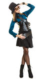 Steampunk girl with hat saluting. Stock Photos