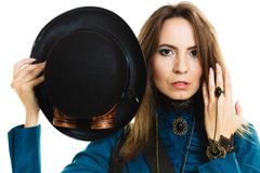 Steampunk girl with hat. Royalty Free Stock Photo