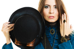 Steampunk girl with hat. Royalty Free Stock Photos