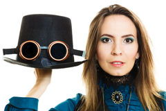 Steampunk girl with hat. Stock Photography