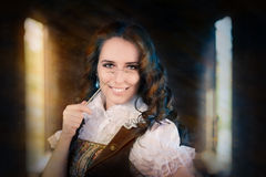 Steampunk Girl with Lorgnette Royalty Free Stock Images
