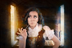 Steampunk Girl with Lorgnette Royalty Free Stock Photography