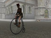 Steampunk girl on penny farthing bicycle on cobbled street Royalty Free Stock Images