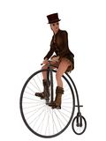 Steampunk girl on penny farthing bicycle Royalty Free Stock Images