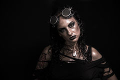 Steampunk Girl. Portrait of Brutal Steampunk Girl over Black Background Stock Photos
