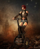 Steampunk girl on a Segway stock illustration