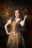 Steampunk Girl with Top Hat and Aviator Glasses Stock Images