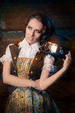 Steampunk Girl with Top Hat and Aviator Glasses Royalty Free Stock Photo