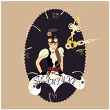 Steampunk. A steampunk girl with top hat and googles vector illustration