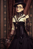 Steampunk in glasses Stock Images