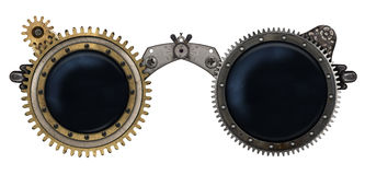 Steampunk glasses metal collage Royalty Free Stock Photo