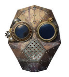 Steampunk glasses. Steampunk metal robot head, isolated royalty free stock photo