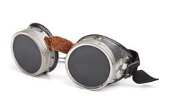 Steampunk goggles. Isolated on white stock image