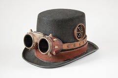 Steampunk gogle i kapelusz Zdjęcia Royalty Free