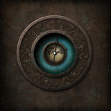 Steampunk Gothic Clock. Steampunk/gothic syled clock on a grungy background Royalty Free Stock Photos